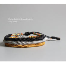 Load image into Gallery viewer, HANDMADE TIBETAN LUCKY KNOTS BRACELET - black, golden, silver - GrandOakTree