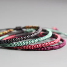 Load image into Gallery viewer, Handmade Tibetan Lucky Knots Bracelet - mint, pink, purple, grey - GrandOakTree