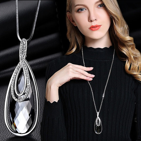 Long Necklace with Pendant for Women - Oval - GrandOakTree