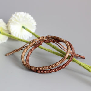 Handmade Tibetan Lucky Knots Bracelet - dream brown, dream khaki - GrandOakTree