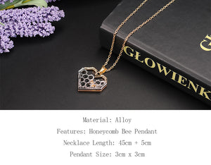Bee and Honeycomb Pendant Necklace - GrandOakTree
