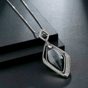 Long Necklace with Pendant for Women - Rhombus - GrandOakTree