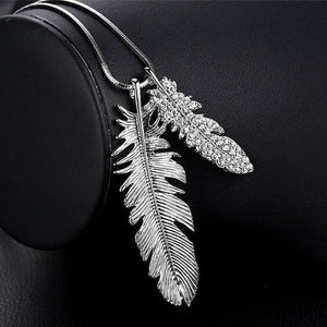 Long Necklace with Pendant for Women - Feather - GrandOakTree