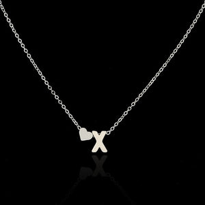 Tiny Dainty Heart Initial Necklace - GrandOakTree
