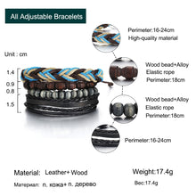 Load image into Gallery viewer, Multilayer Leather Bracelet with Wood Beads - GrandOakTree