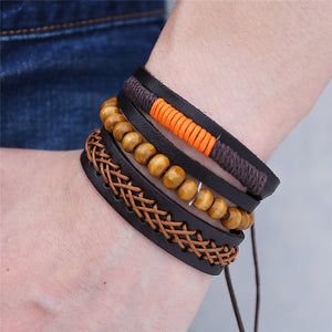 Multilayer Leather Bracelet with Wood Beads - GrandOakTree
