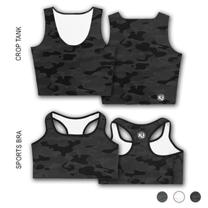 Ruby Black Camo Tops