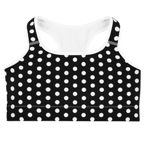 Erin Polka Dot Black Sports Bra
