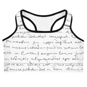Erin Cursive White Sports Bra