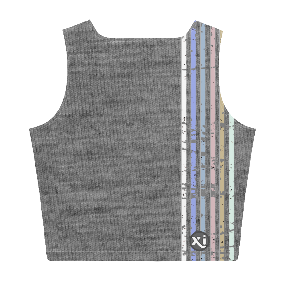Lenni Retro Stripe Grey Crop Top