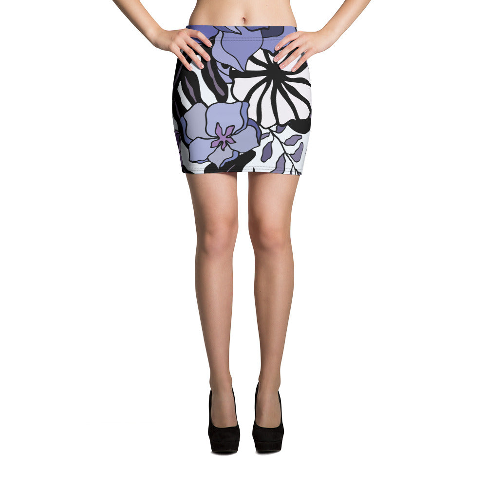 Purple Floral Swim Skirt