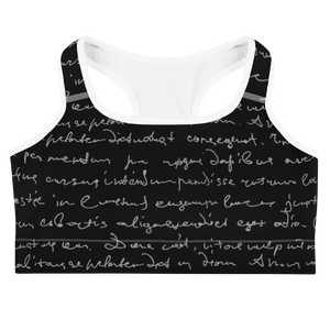 Erin Cursive Black Sports Bra