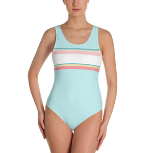 Turquoise Striped One-Piece Swimsuit
