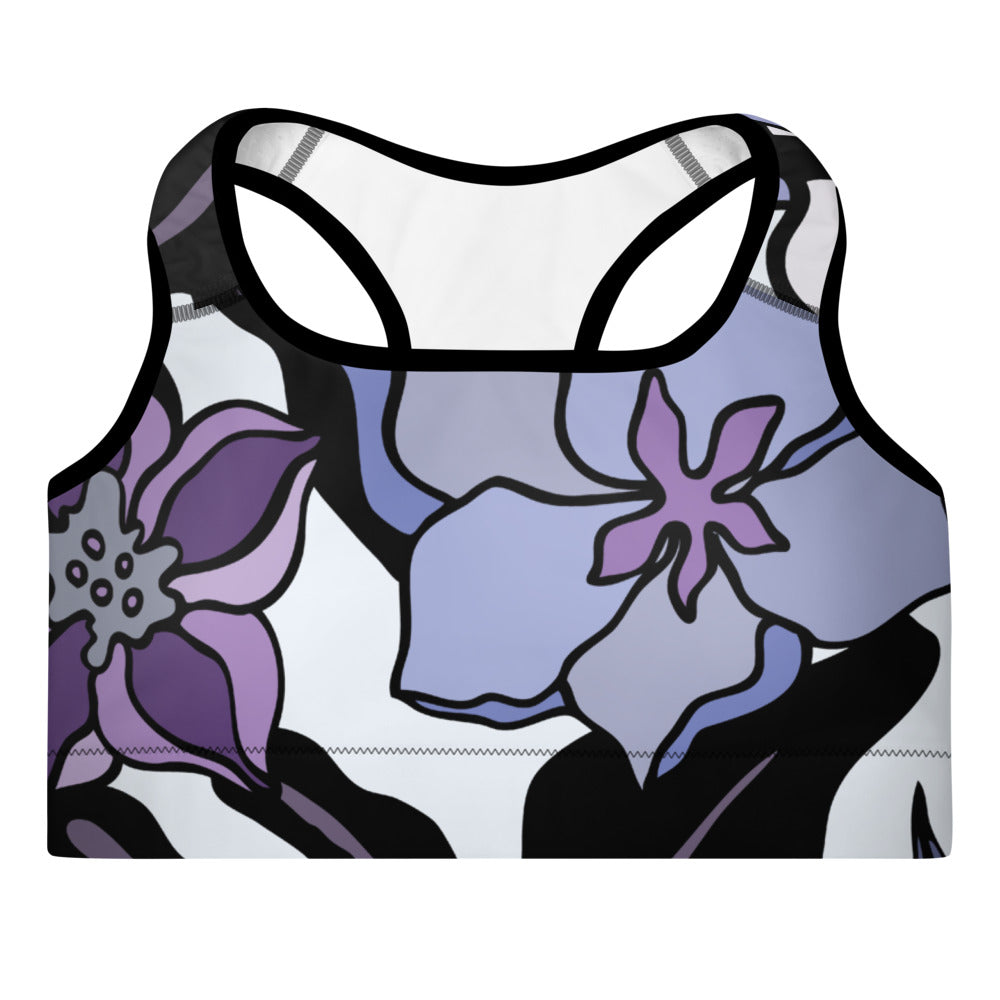 Purple Floral Padded Swim Top