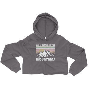 Retro Mountain Life Crop Hoodie