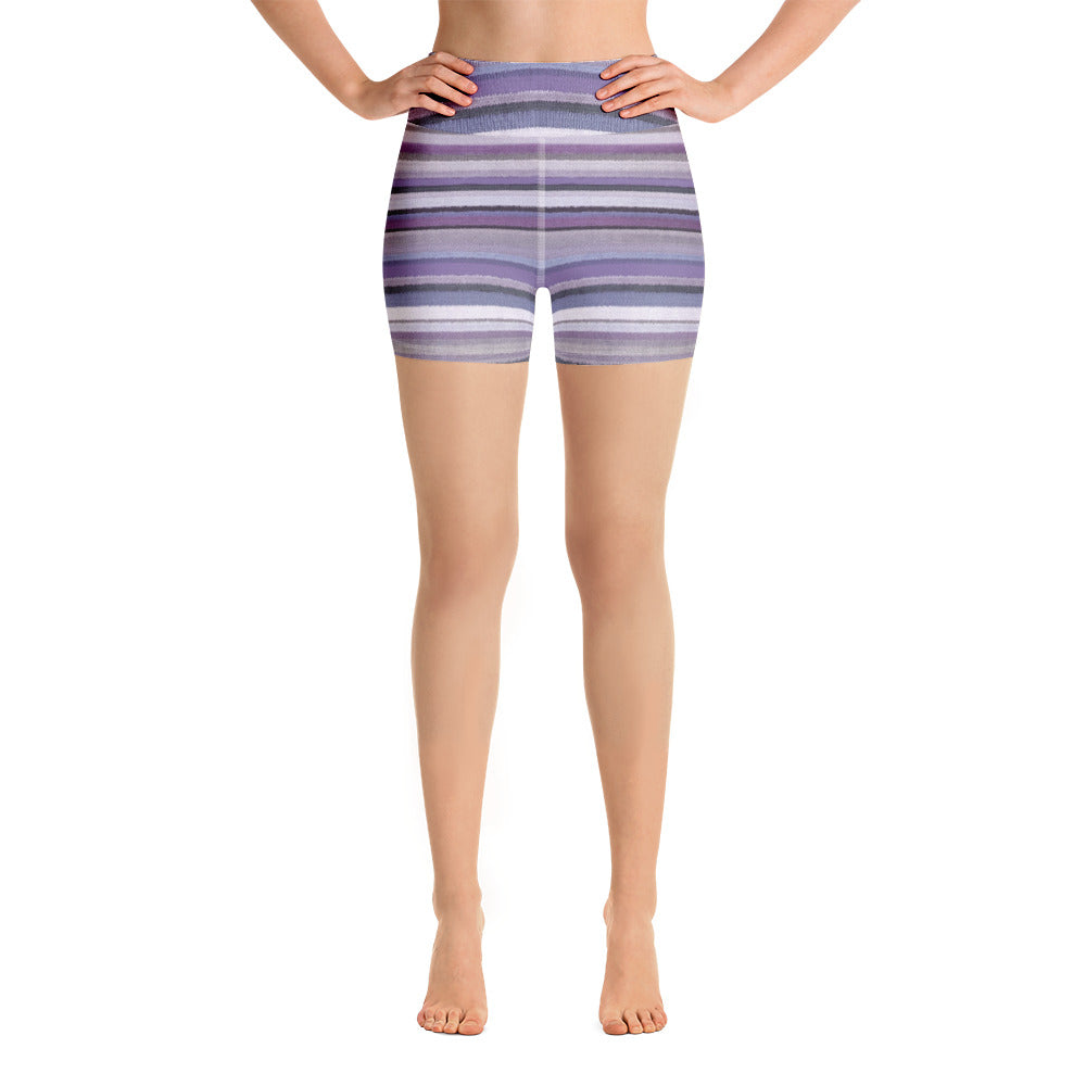 Megan Purple Striped Shorts