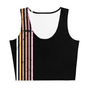 Lenni Retro Stripe Black Crop Top