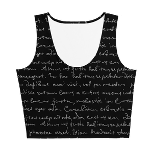 Erin Cursive Black Crop Top