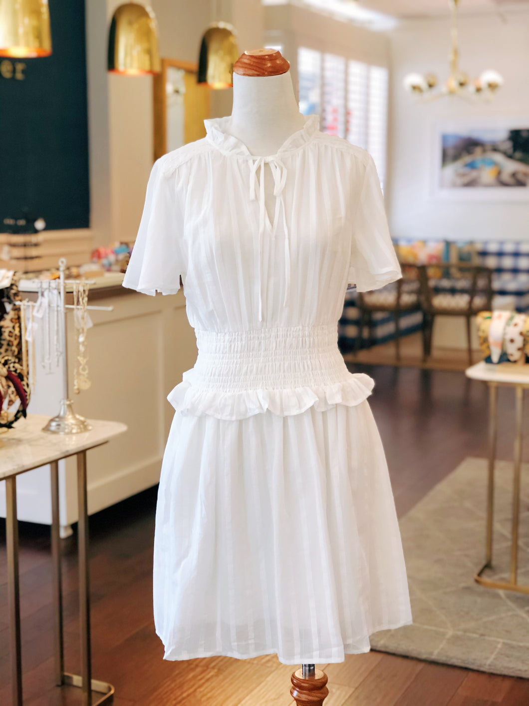 White Smocked Waist Dress