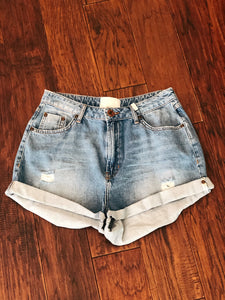 Rolled Distressed Shorts