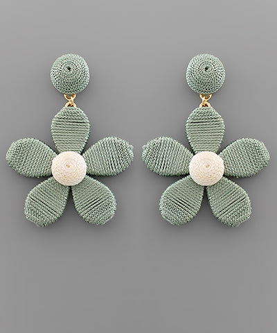 Moss Thread Flower Earrings