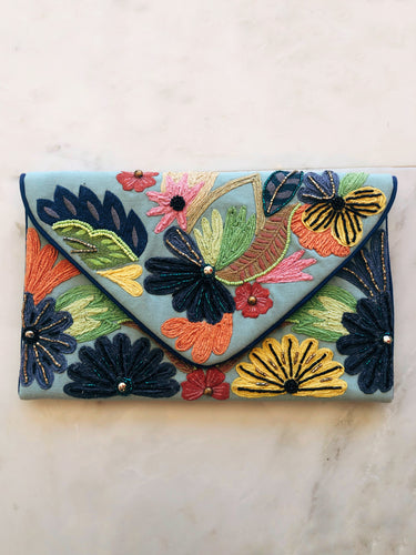 Blue Floral Beaded Clutch