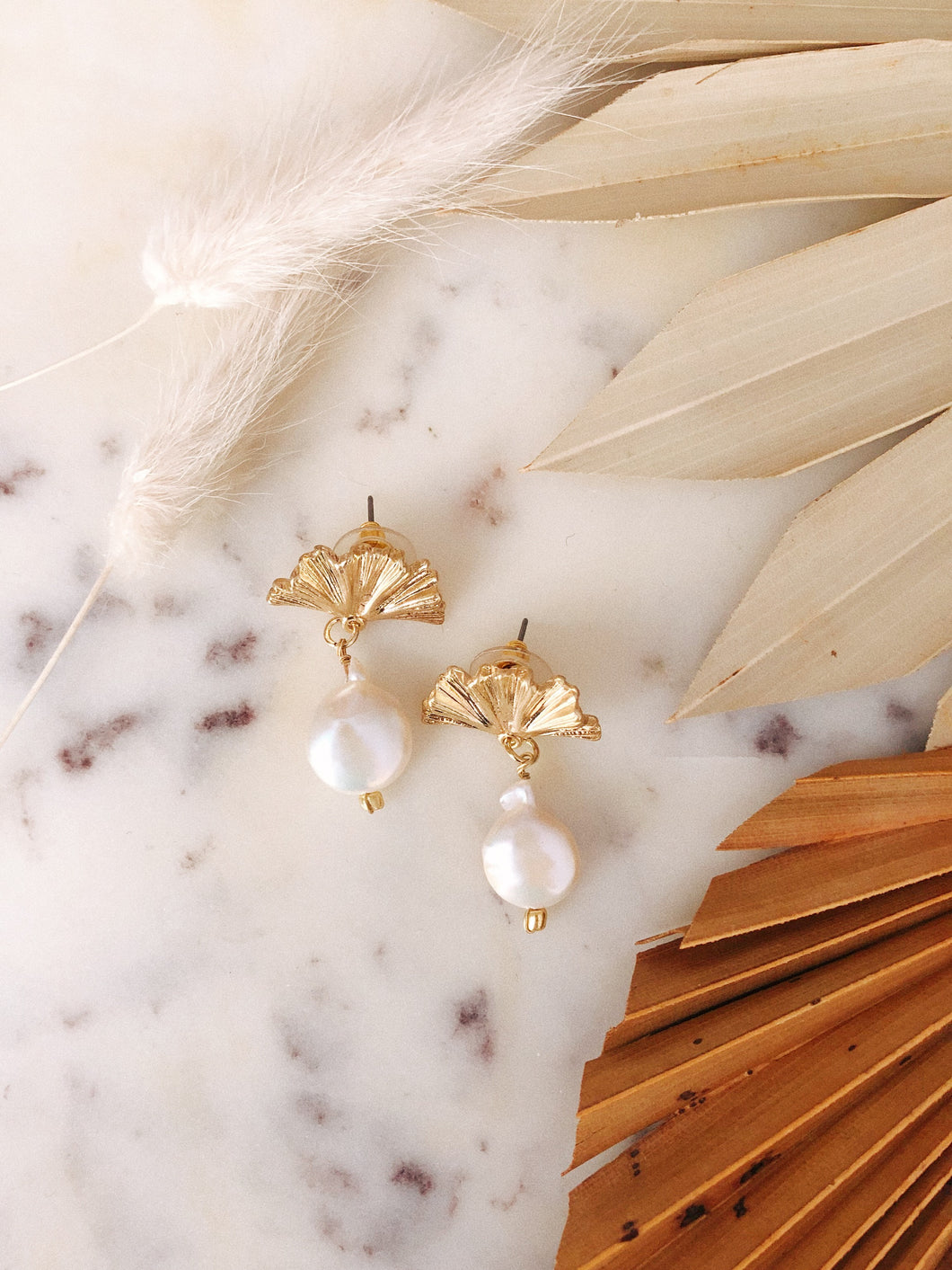 Freshwater Pearl Fan Earrings