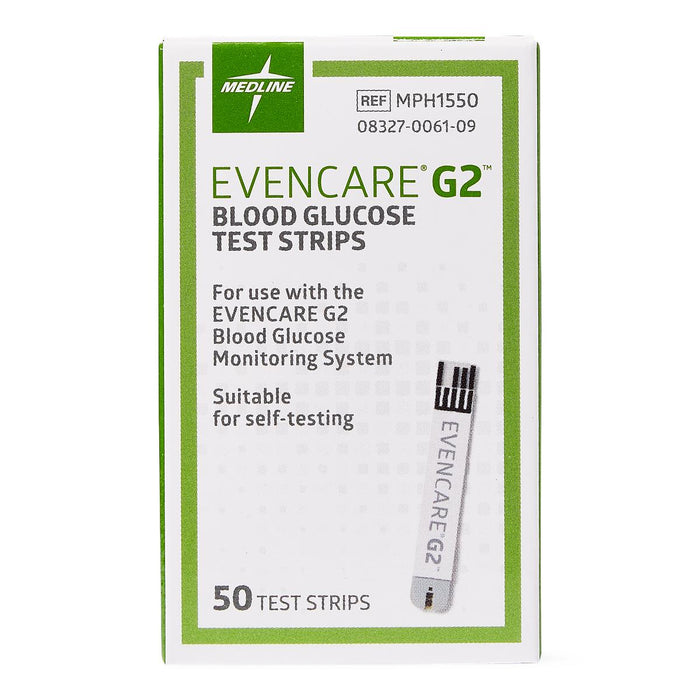 EvenCare G2 Blood Glucose Strips - Box of 50 - Medical Supply Surplus