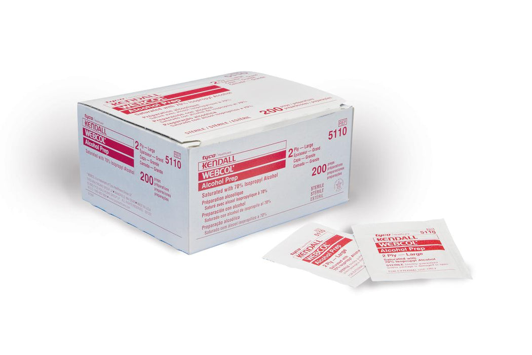 Webcol Alcohol Prep Pads: Large -Box of 200 - Medical Supply Surplus