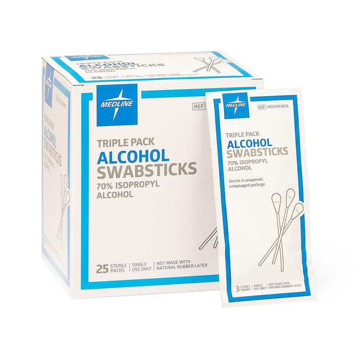 Sterile Alcohol Swabsticks Triple Packs: Packs of 25 - Medical Supply Surplus