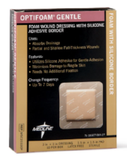"Optifoam Gentle Foam with Silicone Adhesive Border  3"" x 3"" - MSC2033EP - Medical Supply Surplus"