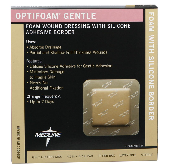 "Optifoam Gentle Foam with Silicone Adhesive Border  6"" x 6"" - MSC2066EP - Medical Supply Surplus"