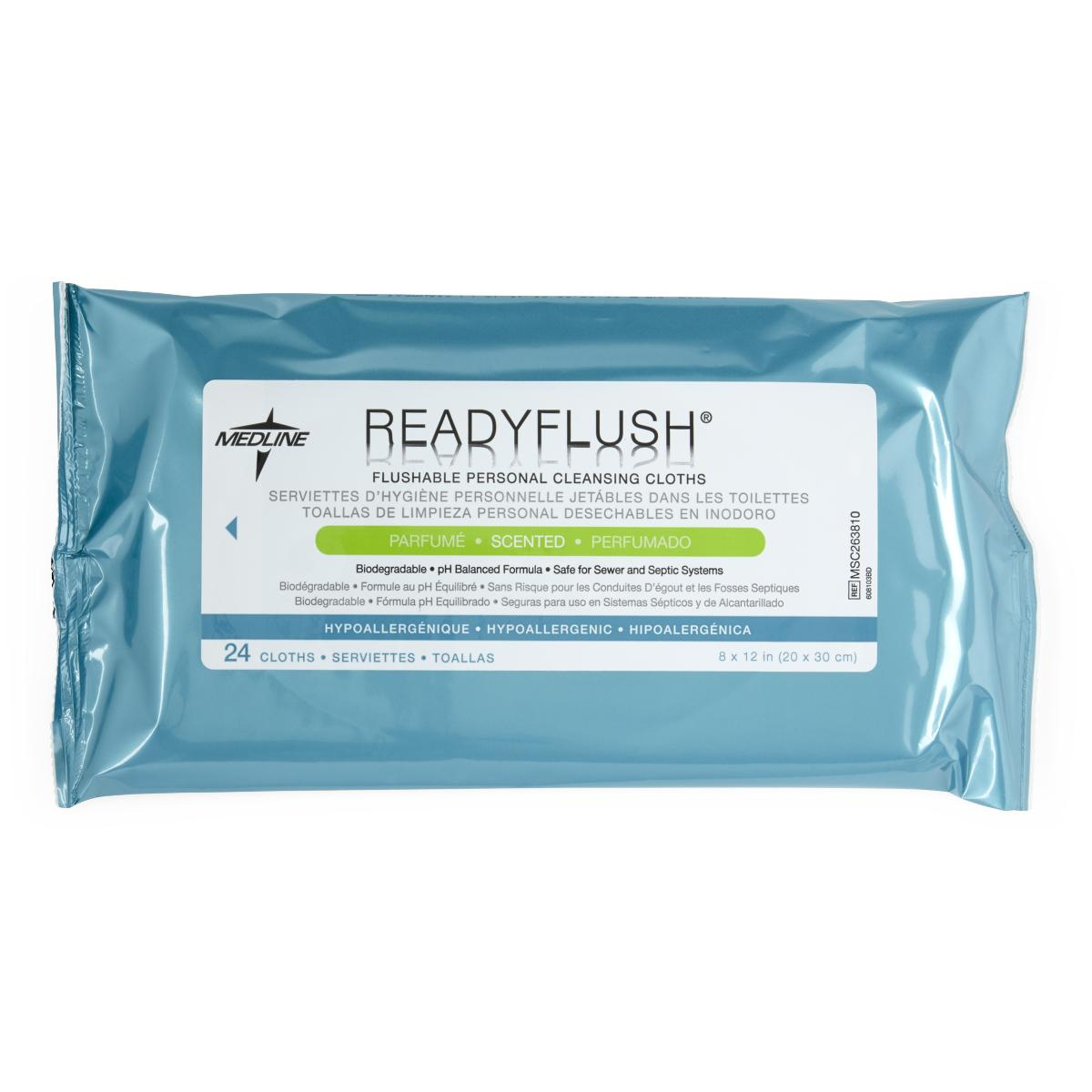 ReadyFlush Biodegradable Cleansing Wipes -24/Pack