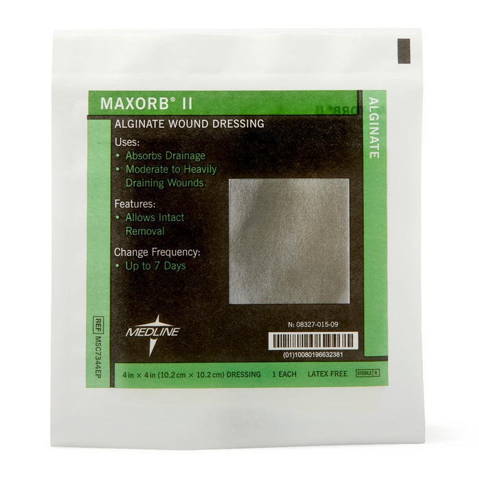 "Maxorb II Alginate Dressings 4"" x 4"" - MSC7344EP - Medical Supply Surplus"