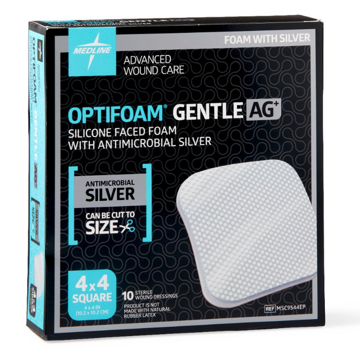 "Optifoam Gentle 4"" x 4"" Silicone Faced Foam with AG Dressing - MSC9544EP - Medical Supply Surplus"