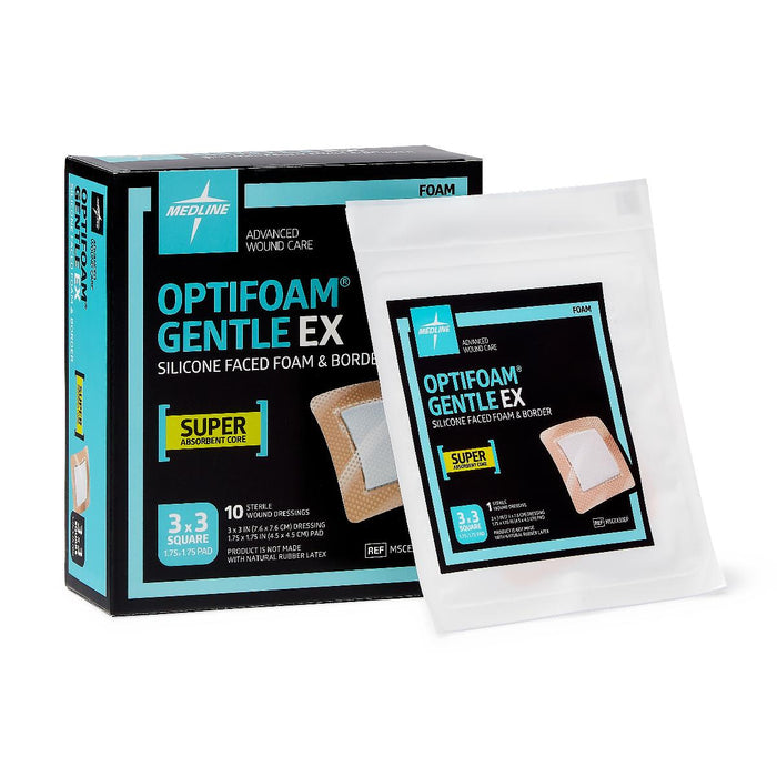 "OPTIFOAM GENTLE EX 3"" X 3"" BORDERED - Medical Supply Surplus"