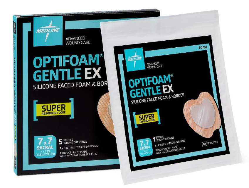 "Optifoam Gentle EX 7"" x 7"" Silicone Faced Border Sacrum Dressing - MSCEX77EP"