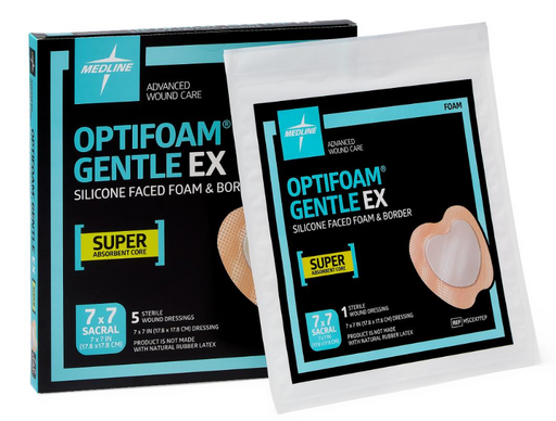 "Optifoam Gentle EX 7"" x 7"" Silicone Faced Border Sacrum Dressing - MSCEX77EP - Medical Supply Surplus"