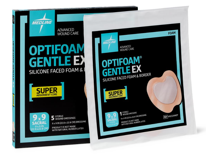 "Optifoam Gentle EX 9"" x 9"" Silicone Faced Border Sacrum Dressing -MSCEX99EP - Medical Supply Surplus"