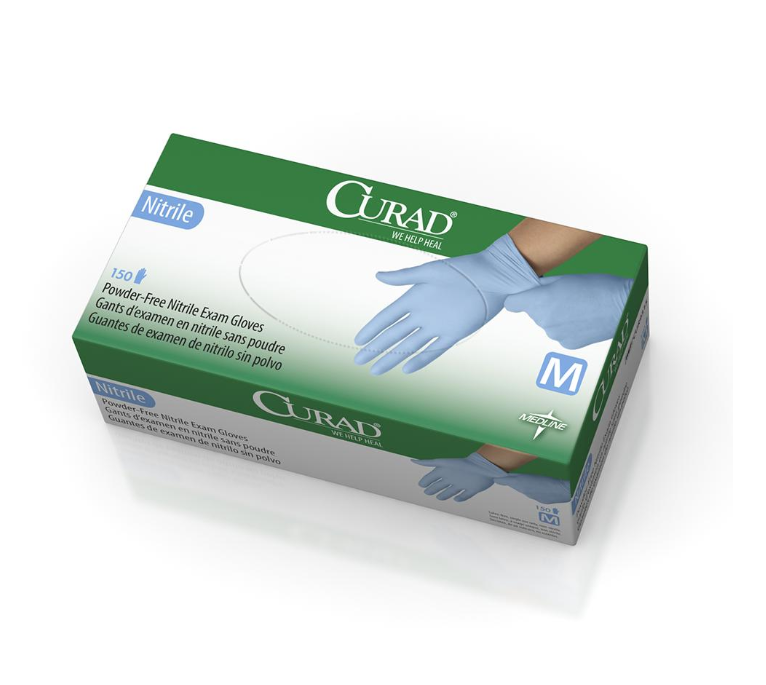 Curad Nitrile Exam Gloves - Latex Free & Powder Free -10 boxes/Case - Medical Supply Surplus