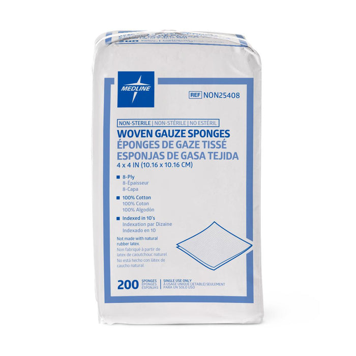 "Nonsterile 100% Cotton Woven Gauze Sponges 4"" x 4"" 8 Ply- NON25408 - Medical Supply Surplus"