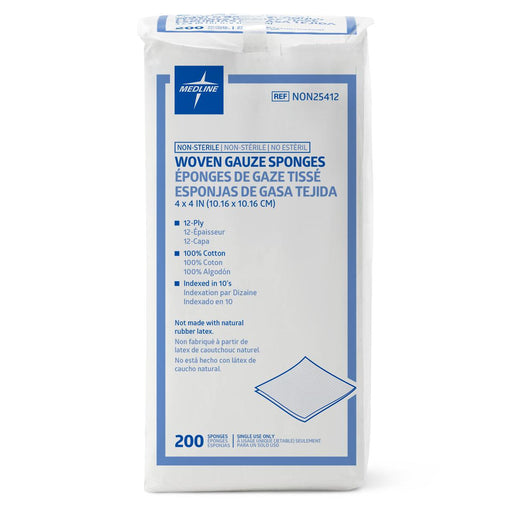 "Nonsterile 100% Cotton Woven Gauze Sponges 4"" x 4"" 12 Ply- NON25412 - Medical Supply Surplus"