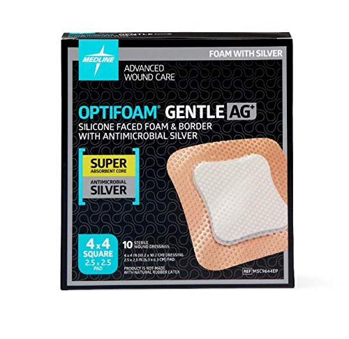 "Optifoam Gentle Border 4"" x 4"" Silicone Faced Foam with AG Dressing - MSC9644EP - Medical Supply Surplus"