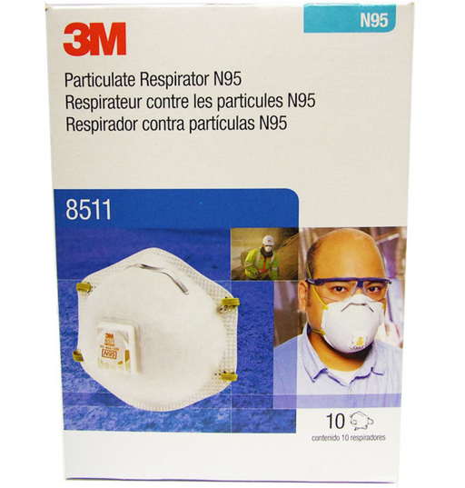 3M 8511 N95 Respirator Masks - 10 Per Box - Medical Supply Surplus