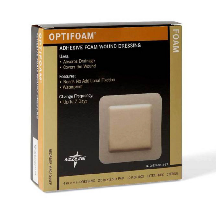 "Optifoam with Silicone Adhesive Border  4"" x 4"" - MSC1044EP - Medical Supply Surplus"