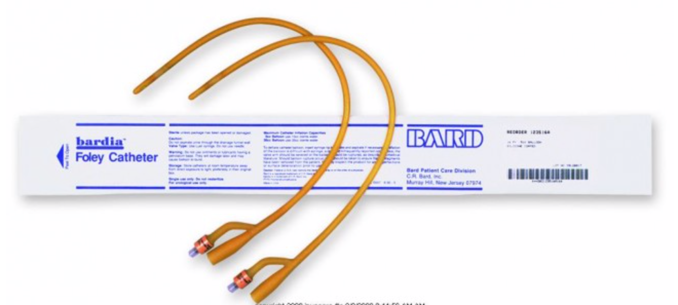 Bardia® Foley Catheter 2-Way Standard Tip 30 cc Balloon Silicone Coated Latex - Medical Supply Surplus