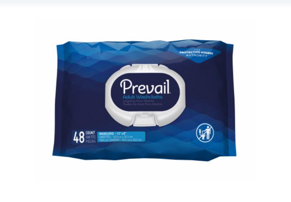 Prevail® Adult Washcloths Soft Pack Aloe / Vitamin E (48 count) - Medical Supply Surplus