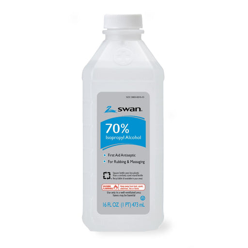 Swan Isopropyl 70% Rubbing Alcohol - 16oz Bottles - Case of 12 - Medical Supply Surplus