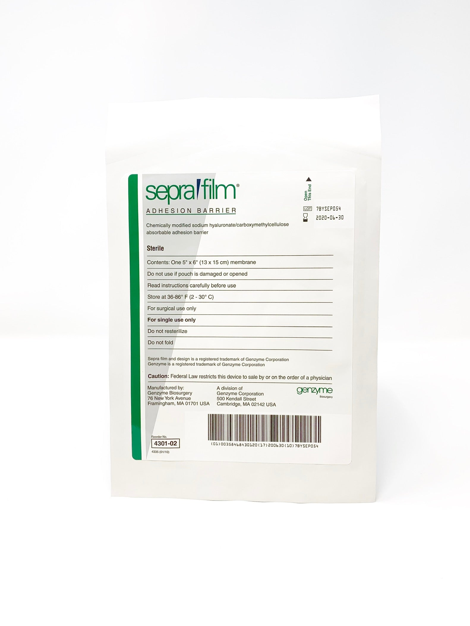 Seprafilm Adhesion Barrier 4301-02 - Medical Supply Surplus