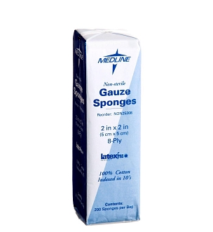 "Nonsterile 100% Cotton Woven Gauze Sponges 2"" x 2"" 8Ply - NON25208 - Medical Supply Surplus"